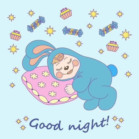 childrens illustration, rabbit sleep, stars, candy, cakes Illustration