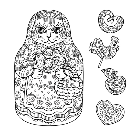christmas market: contour illustration, coloring book, Christmas market, a fair, a cat with a basket, doll, candy, apple