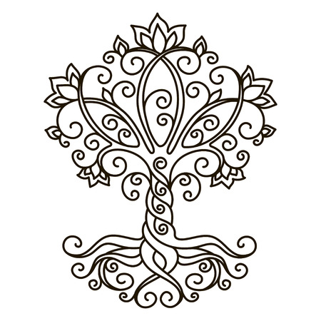 decor element, vector, black and white illustration, mandala, tree
