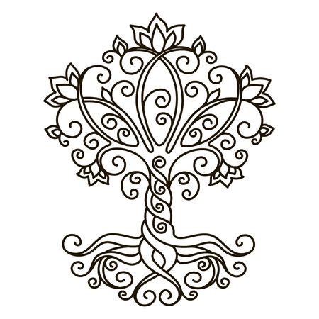arboles blanco y negro: elemento de la decoración, vector, blanco y negro ilustración, mandala, árbol