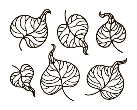 Vector, Contorno Ilustración, Libro Para Colorear, Rama, Conjunto ...