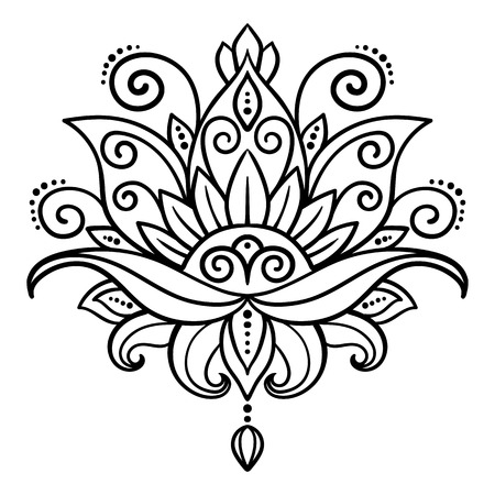 vector, abstract, oosterse stijl, bloem, lotusbloem, tattoo, design element, bloemen design, krabbel, yoga, medaillon, hand-tekening Stock Illustratie