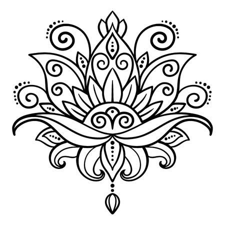 wektor, streszczenie, orientalny styl, kwiat lotosu, tatuaż, element projektu, kwiatowe wzory, doodle, joga, medalion, ręcznie rysunek