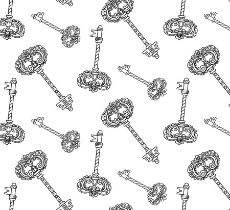 antiquarian: vector, abstract, black and white illustration, outline, seamless pattern, antique key, vintage