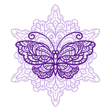 ilustración vectorial, esquema, mandala, mariposas, verano, el estilo de dibujo, tatuaje