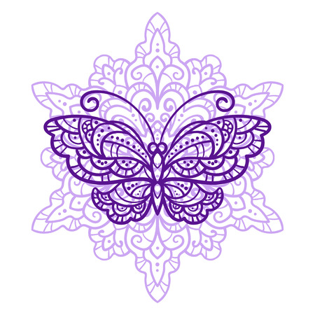 vector illustration, outline, mandala, butterflies, summer, doodle style, tattoo