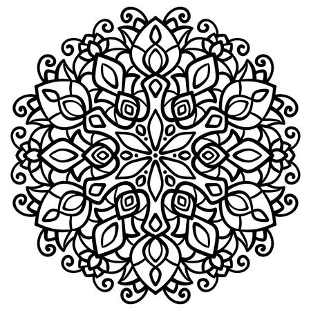 vector illustration, outline, mandala,  abstract,   element for design, east, doodle, tattoo Illustration