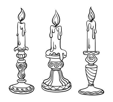 Ilustracja wektorowa, kontur, kolorowanka, zestaw, świeca w świeczniku, płomień, malowanie ręczne, abstrakcja