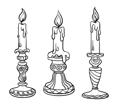 Vector illustration, outline, coloring book, set, candle in a candlestick, flame, hand-painting, abstraction