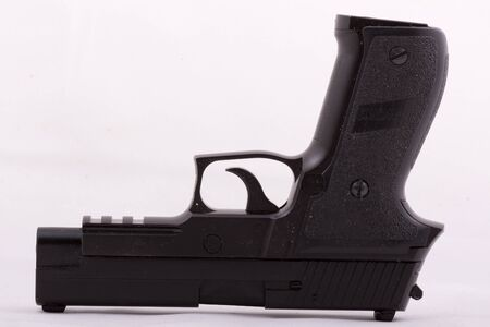 toy prototype Sig Sauer p226, black gun, game for boys Stock Photo