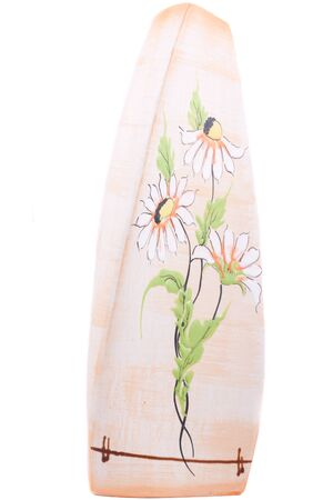 Beige ceramic flower vase triangular, images of flowers, beautiful, twisted