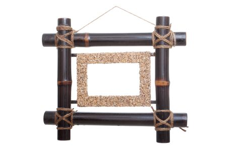 bamboo frame for photo dark brown isolated over white