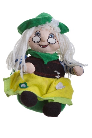 papoose: funny rag toy grandmother isolate over white Stock Photo