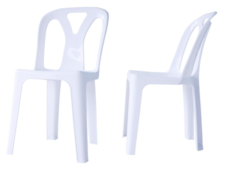 chair white, plastic, front and side, for sitting Stock Photo