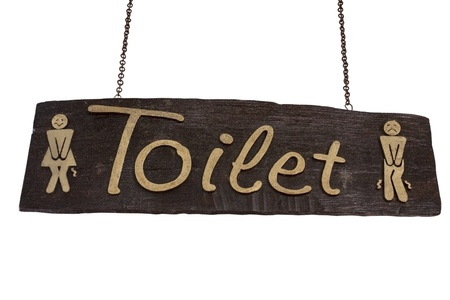 Toilet wood signboard isolated on white and clipping path Stock Photo
