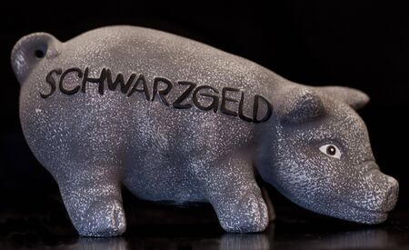 pig moneybox on black, dark room shot with flash light on long time Stock Photo