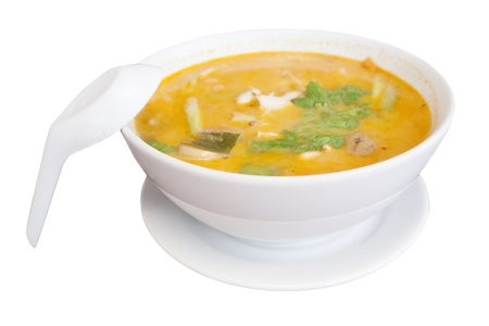 tom yam spicy soup isolated on white Stock Photo