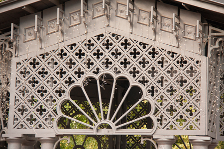 ornamental lattice gazebo in the garden outdoor Stock Photo