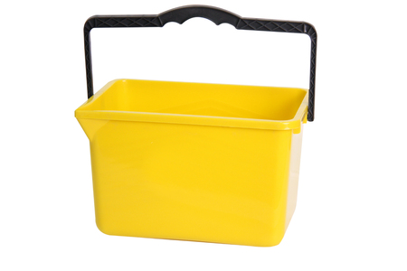 yellow rectangular bucket isolated on white Stock Photo