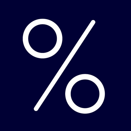 Percent or interest icon of set white outlines, vector of collection business
