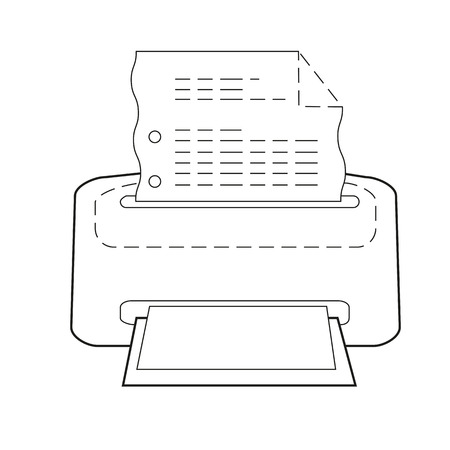 Printer or printing icon of set dotted sketch, vector of collection business