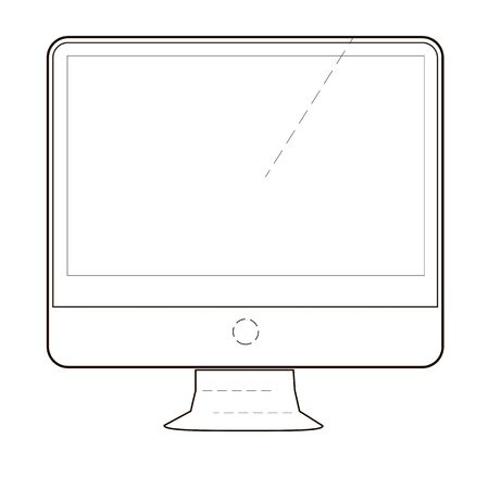 Monitor or screen icon of set dotted sketch, vector of collection business