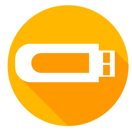 Usb or flash drive icon of set material design style.