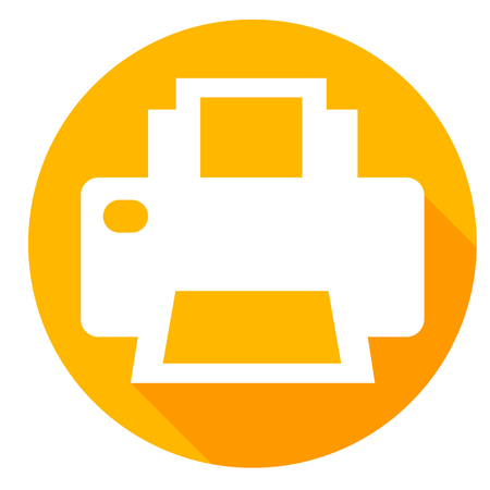 printer or print drive icon of set material design style