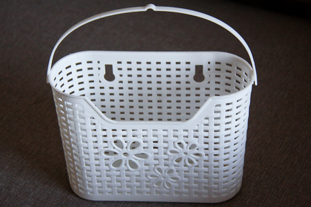 Handle and Hanging vintage container or white basket