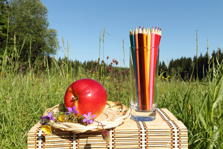 Color pencils in a glass is on a little table outdoors photo