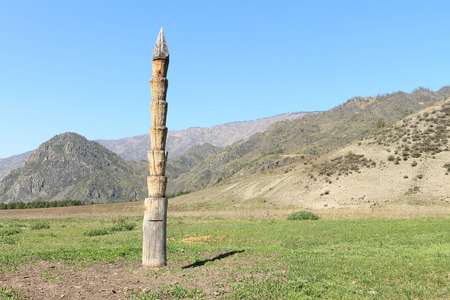 hitching post: Hitching post standing on a mountain pasture Stock Photo