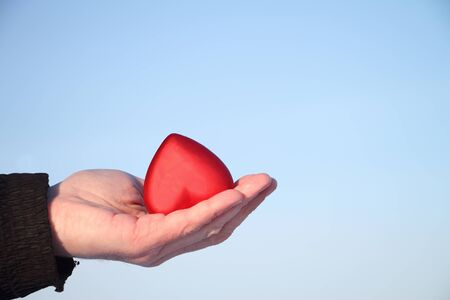 male palm: Symbolical red heart in a male palm against the blue sky