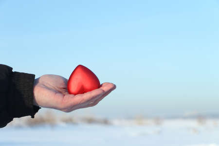 male palm: Symbolical red heart in a male palm against the blue sky and a snow field