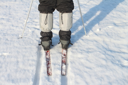 gaiters: Gaiters on trousers on the man during tracking in the winter Stock Photo