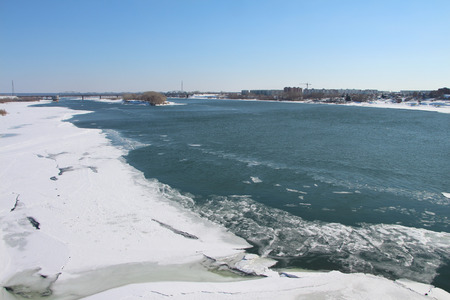 thawing: The thawing ice on the Ob River in the spring, Russia, Novosibirsk Stock Photo
