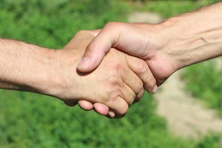 suntanned: Suntanned male hands make handshake