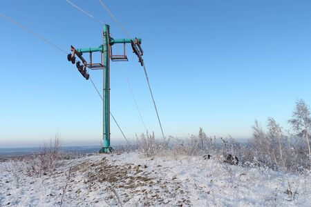 ropeway: Ropeway at mountain top in the winter Stock Photo