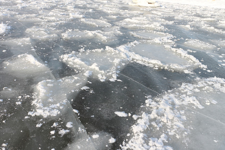 snow break: Crack on an ice surface of the frozen river, a natural background