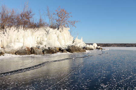 deepening: Formation of ice on the river in the fall. River Ob, Russia