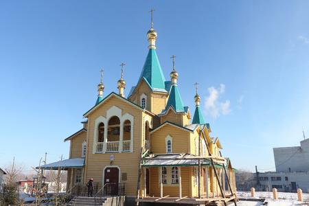 novosibirsk: Novosibirsk region, Russia - November, 14: Church of the Nativity in the settlement Mountain. Taken on November 14, 2015 in Novosibirsk region, Russia