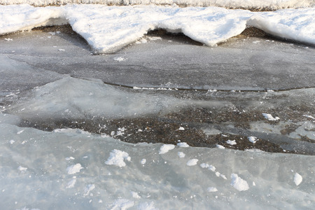 limpid: Cracks in ice on the river in the winter, a natural background Stock Photo