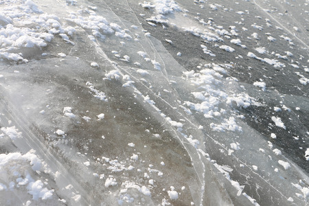 cracks in ice: Cracks on an ice surface of the river, a natural background