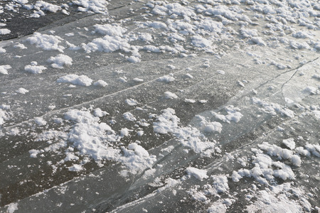 snow break: Cracks on an ice surface of the river, a natural background