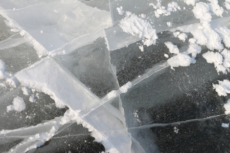 deepening: Cracks on an ice surface of the river, a natural background