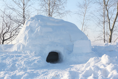 dwelling: The dwelling an igloo   on a snow glade in the winter at sunset