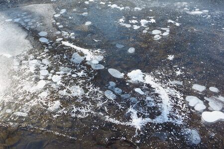 thawing: Formation of hoarfrost on thin ice of the thawing river in the spring