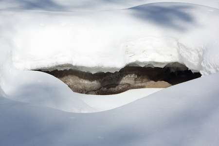 deepening: Opening of ice on the frozen river surface in the spring Stock Photo