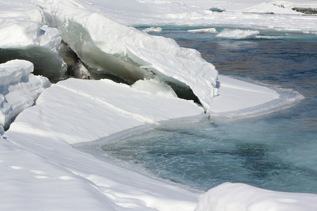 thawing: The thawing ice on the mountain river in the early spring, Katun the river, Altai, Russia Stock Photo