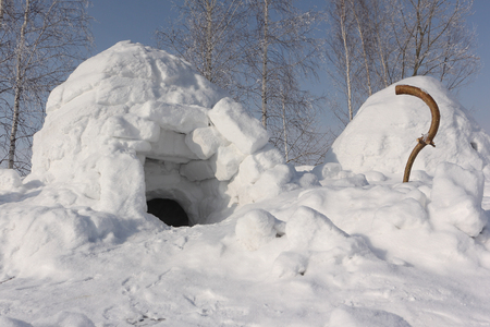 Snow construction an igloo standing on a winter glade