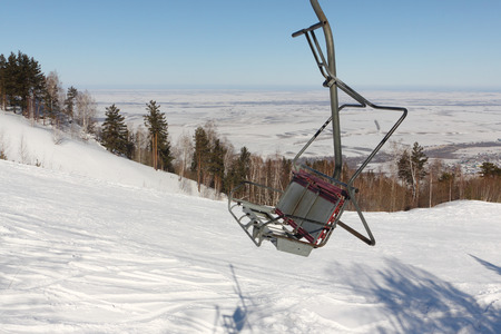 belokurikha: Ropeway on a mountain slope in the winter, a fragment , Altai, Russia